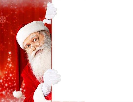 Portrait of Smiling Santa Claus on white