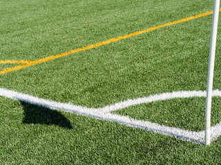 Soccer field and lines in a sunny day