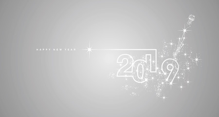 New Year 2019 line design firework champagne white silver grey vector