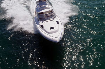 Overhead View of a High-End Motorboat