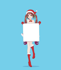Japanese Asian woman holding white big sign board