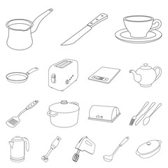 Isolated object of kitchen and cook sign. Set of kitchen and appliance stock symbol for web.