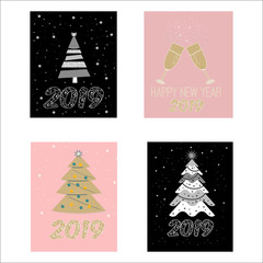 Beautiful set of postcard banner with Christmas trees and glasses