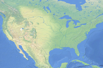 Physical map of the United States of America - detailed topography in geographic coordinate system
