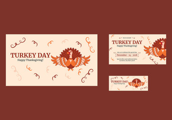 Thanksgiving Social Media Cover and Post Layouts with Turkey and Spiral Elements