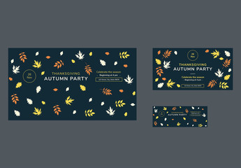 Thanksgiving Social Media Cover and Post Layouts with Colored Leaf Elements
