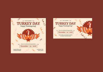 Thanksgiving Social Media Feed Layouts with Turkey and Spiral Elements