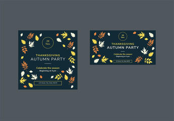 Thanksgiving Social Media Feed Layouts with Colored Leaf Elements