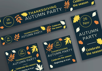 Thanksgiving Web Banner Layouts with Colored Leaf Elements