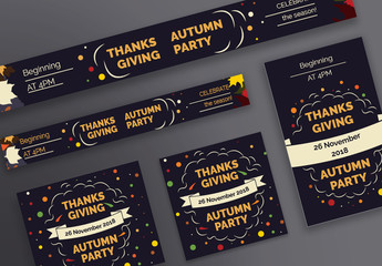 Thanksgiving Web Banner Layouts with Colored Leaves and Corn Elements