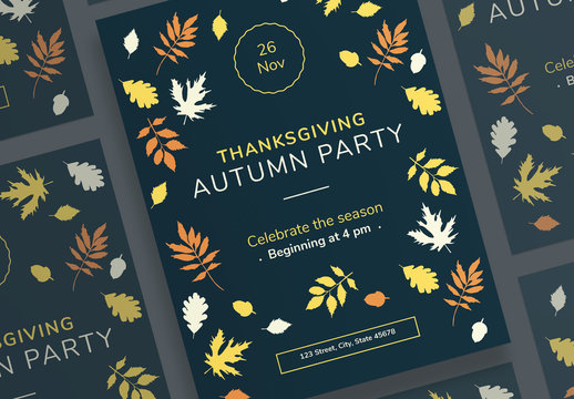 Thanksgiving Poster Layouts with Colored Leaf Elements