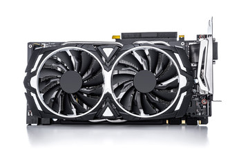 Computer gaming powerful graphic card on white.