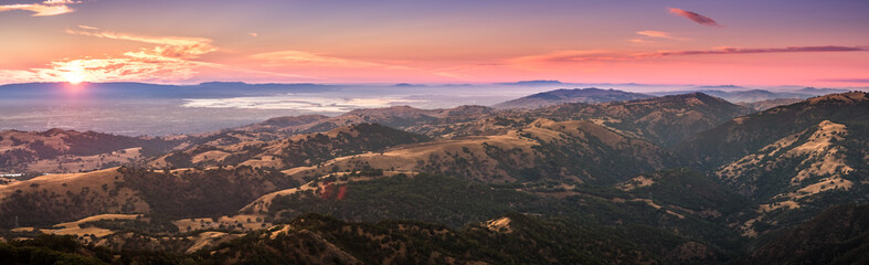Sunset view of south San Francisco bay area and San Jose from the top of Mount Hamilton, San Jose, California Wall mural