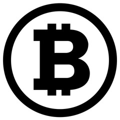 Vector simple black bitcoin icon on white background