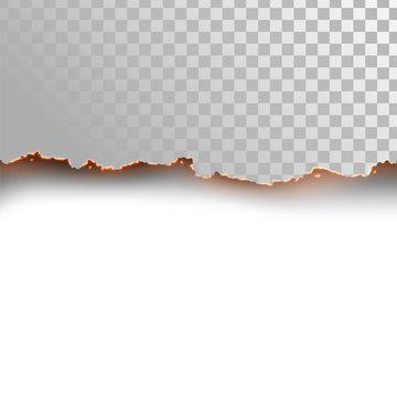 Seamless horizontal edge of burning paper