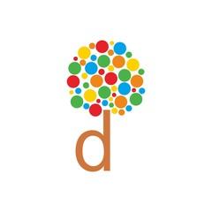 Tree Leaf D Initial Letter Logo Vector
