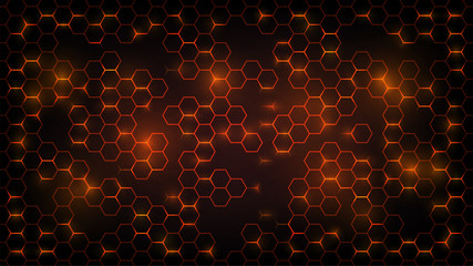 Abstract dark background with orange luminous hexagons, honeycombs