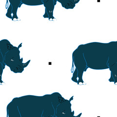 Rhino vector seamless pattern  for textile, fabric, fashion clothes. African animal illustration isolated on background
