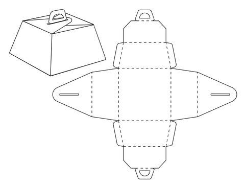 Cardboard box bonbonniere. Custom shaped Decorative Packet design no glue locker. Die-stamping blueprint box, folding, ready no glue Top Lock. Laser cutting. Wedding bonbonniere.