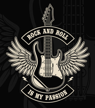 Rock and roll guitar with wings illustration