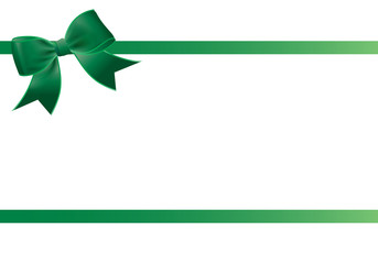 Gift card with green ribbon and a bow - Gift voucher template with place for text - Invitation