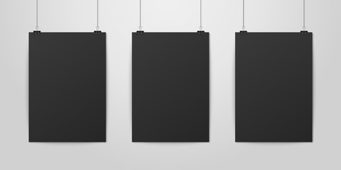 Three Vector Realistic Black Blank Vertical A4 Paper Poster Hanging on a Rope with Binder Clip Set on White Wall mock-up. Empty Poster Design Template for Graphics, Mockup