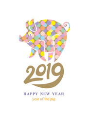 Year of the Pig on the Chinese Calendar. 2019. Pig in colorful decoration symbol of the year 2019.