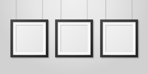 Three Vector Realistic Modern Interior Black Blank Square Wooden Poster Picture Frame Set Hanging on the Ropes on White Wall Mock-up. Empty Poster Frames Design Template for Mockup, Presentation