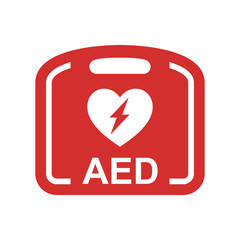 Emergency first aid defibrillator vector icon