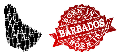 People crowd composition of black population map of Barbados and rubber stamp. Vector red imprint with corroded rubber texture has Born In text.
