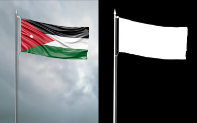 3d illustration of the state flag of the Hashemite Kingdom of Jordan moving in the wind at the flagpole in front of a cloudy sky with its alpha channel