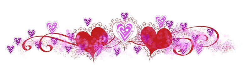 Valentine Love Hearts Wide panorama horizontal header  ribbons bokeh glitter on Red Pink and purple  white backgrounds