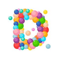 Vector letter d of the alphabet for kids of the colored balls.