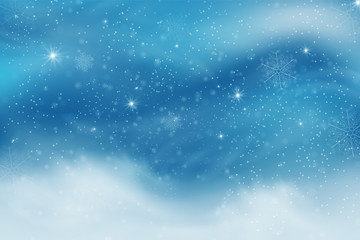 Winter blue sky with falling snow, snowflakes with winter landscape.