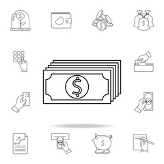 money bills icon. Outline set of banking icons. Premium quality graphic design icon. One of the collection icons for websites, web design, mobile app