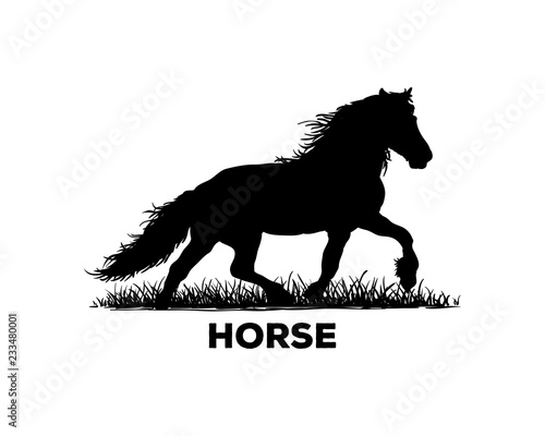 Silhouette Vector Black Running Horse Sign Symbol Icon Animal