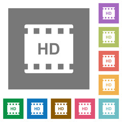 HD movie format square flat icons