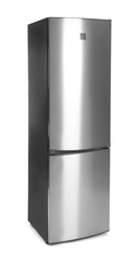 Modern double door refrigerator on white background