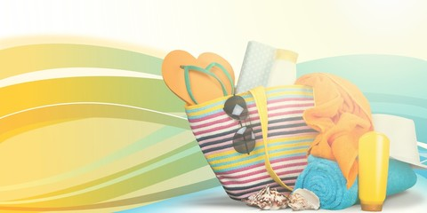 Colorful towels, cosmetics bottles and soap in basket, isolated