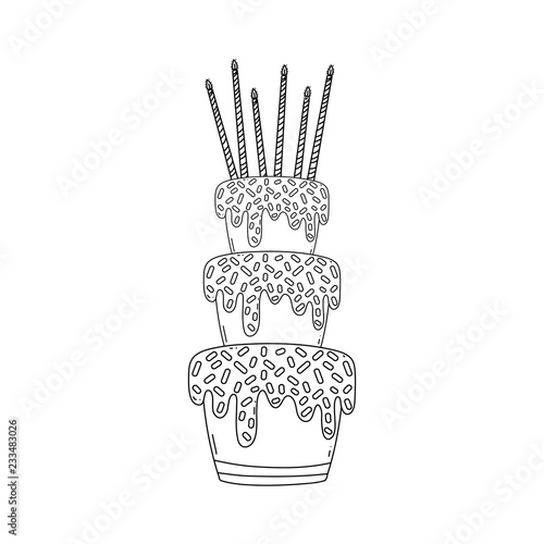 Birthday Cake Cartoon In Black And White Stock Image And Royalty