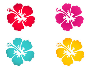 Hibiscus flower set - surfing and tropical symbol