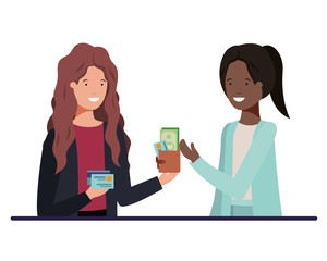 women with wallet and credit card avatar character