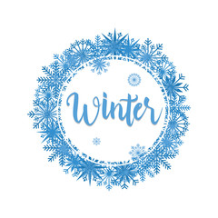Cool Winter Snowflake Frame Wreath Greeting Card Background