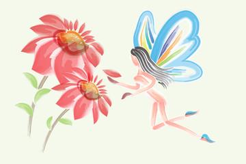 Watercolor flower fairy girl butterfly vector