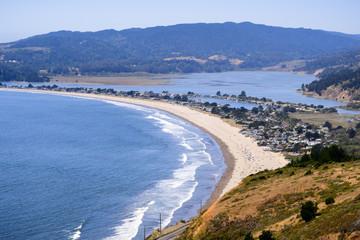 Aerial view of Stinson Beach and Bolinas lagoon, Marin County, north San Francisco bay area, California Wall mural