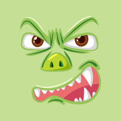 Angry green monster face