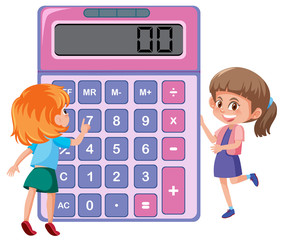 Children learning with calculator