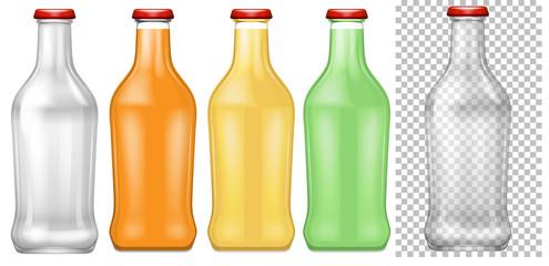 Set of transparent bottle