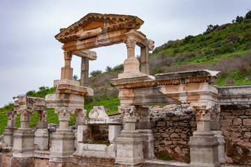 The Fountain of Traianus in Ephesus Ancient City, Turkey.The ancient city is listed as a UNESCO World Heritage Site.