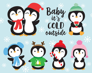 Cute baby penguins in winter outfits vector illustration. Penguins wearing winter scarf and hat.
